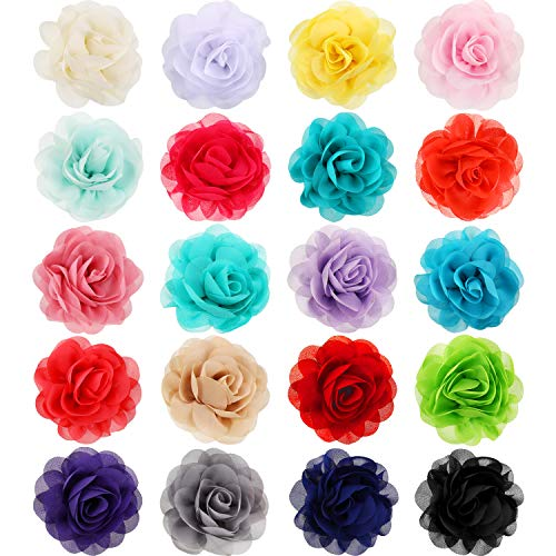 Leinuosen 20 Pieces Dog Collar Flowers Pet Bow Tie Flower Collars for Puppy Collar Grooming Accessories (Color Set 2, 5 cm)
