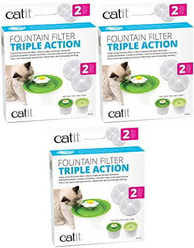 Catit Triple Action Fountain Filter, 6ct (3 x 2ct) (Filter Action)