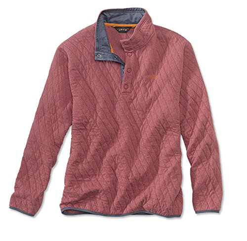 Orvis Men's Trout Bum Quilted Snap Sweatshirt/Trout Bum Quilted Snap Sweatshirt, Red Clay, Medium (Patagonia Mens Cotton Quilt Snap T Pullover)