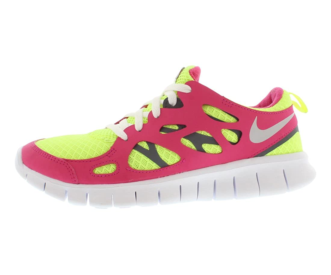 super popular f010e 3c3fe Nike Girls Free Run 2 GS Running Shoes-Volt/Metallic Silver-Vivid Pink-4