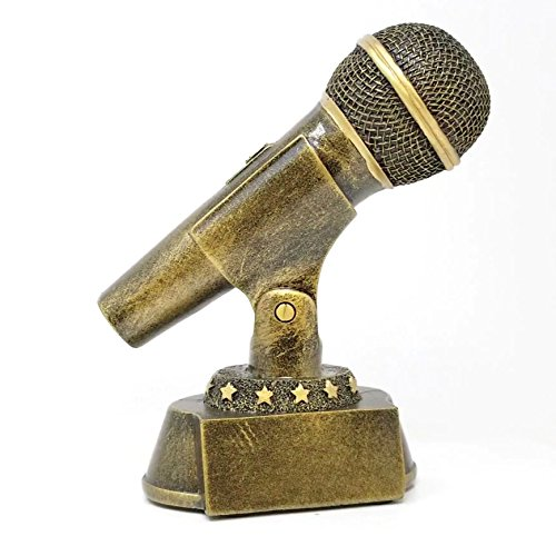 Microphone Trophy - Gold | Mic Drop Award | 7 Inch Tall - Customize Now - Decade Awards