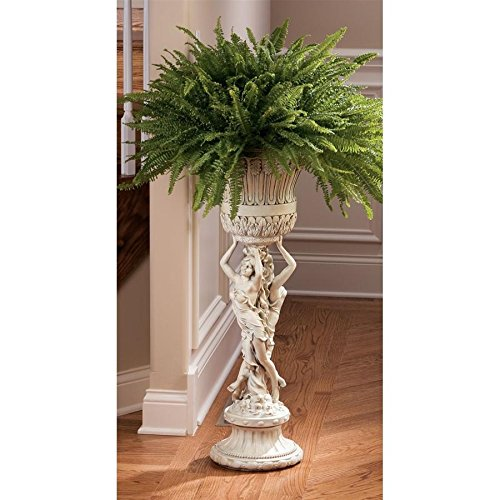 Design Toscano Les Filles Joyeuses Pedestal Column Plant Stand with Urn, 36 Inch, Polyresin, Antique Stone ()