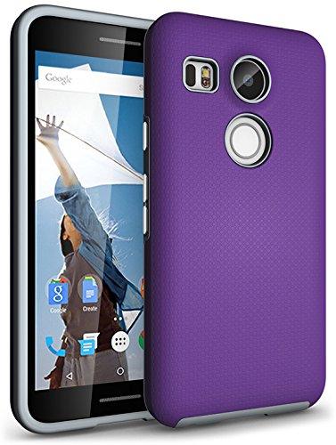 Price comparison product image Nexus 5X Case, CellEver Dual Guard Protective Shock-Absorbing Scratch-Resistant Rugged Drop Protection Cover (Purple)