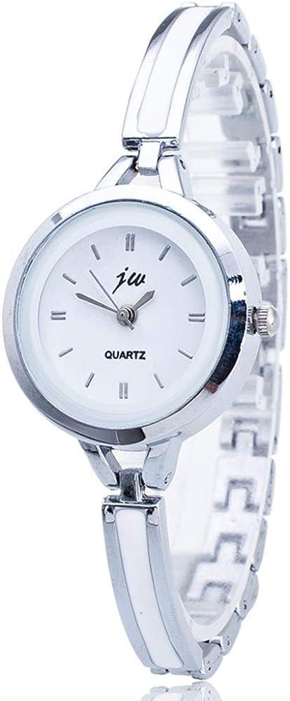 Relojes Pulsera Mujer Moda Relojes Imitación Cerámica Elegante, Blanco-Plata