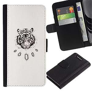 Paccase / Billetera de Cuero Caso del tirón Titular de la tarjeta Carcasa Funda para - tiger vignette sketch art black drawing - Sony Xperia Z1 Compact D5503