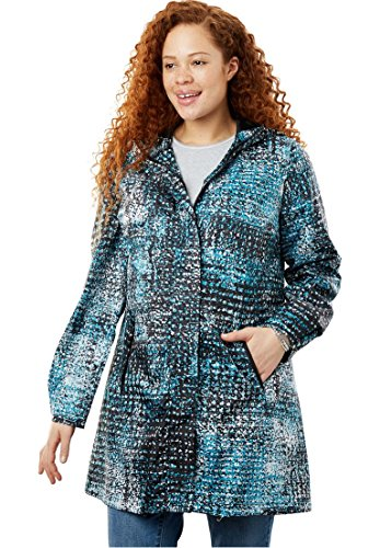 Women's Plus Size Packable Anorak Raincoat Deep Turquoise Abstract,22 ()