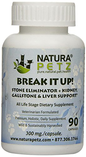 Natura Petz Break It Up! Stone Eliminator (All Types), Kidney, Gallstone and Liver Support for Pets, 90 Capsules, 300mg Per (Type Natural)