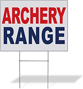 Fastasticdeals Weatherproof Yard Sign Archery Range Red Blue Lawn Garden Sports 24x18 Inches 2 Sides Print