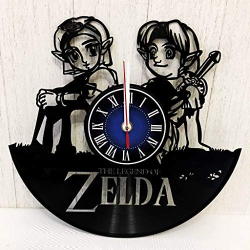 The Legend of Zelda Wall Clock Made from 12 inches / 30 cm Vintage Vinyl Record | The Legend of Zelda Gift for Men Boys Husband | Zelda Game Gift | The Legend of Zelda Merchandise