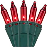 Holiday Essentials Ultra-Brite Red Lights with Green Wire, Pack of 100