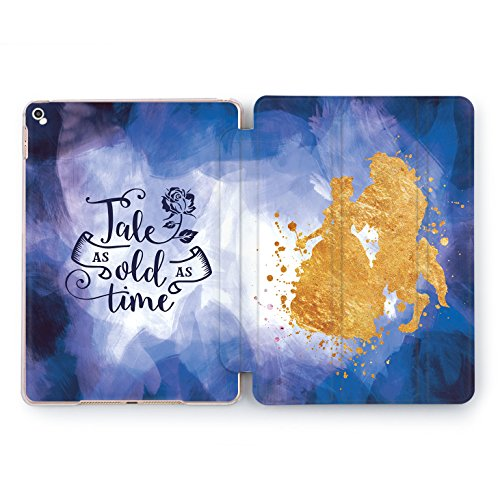 Wonder Wild Beauty and Beast Print Case IPad 9.7 2017 A1822 A1823 2018 A1893 A1954 Air 2 A1566 A1567 6th Gen Clear Design Smart Hard Cover Princess Character Tale As Old As Time Rose Gold Walt Disney ()