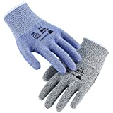 Cut Resistant Gloves 2 Pack Set,High Performance Level 5 Protection,Safety Work Gloves with Durable Nylon & Fiberglass,Multiple Use for Cutting,Woodworking, Garden,Garage (Blue & Grey, Size 8, Medium)