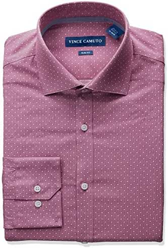 Vince Camuto Men's Slim Fit Stretch Mesh Pindot Print Dress Shirt with Collar