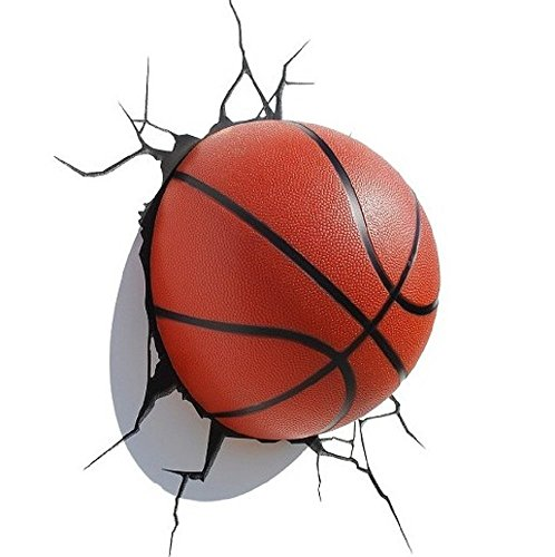 3DLightFX Sports Mini 3D Deco Wall LED Night Light with Crack Wall Sticker, Basketball