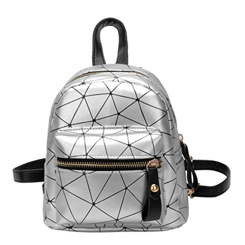 YJYDADA School Bag,Fashion Girl Splice School Bag Backpack Satchel Women Trave Shoulder Bag (Silver)