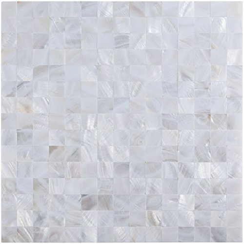 Art3d White Mother of Pearl Shell Mosaic Tile for Kitchen Backsplashes/Shower Wall Tiles, 12 x 12