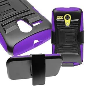 CoverON® Hybrid Heavy Duty Case with Hard Kickstand Belt Clip Holster for Motorola Moto G - Purple Soft Silicone Black Hard