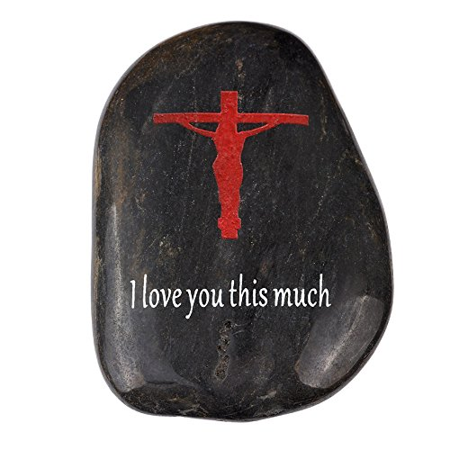 Cheap Holy Land Market Engraved Inspirational Stones Collection – I Love You This Much Stone