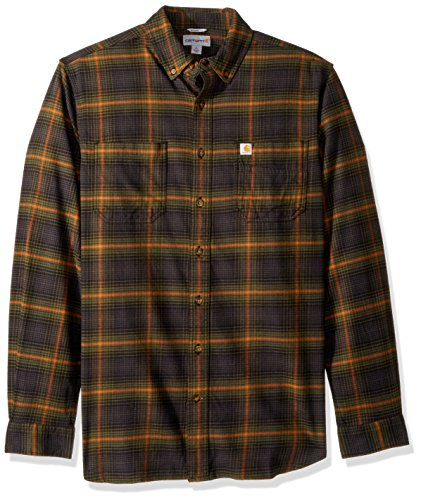 (Carhartt Men's Big & Tall Rugged Flex Hamilton Plaid Shirt,  Army Green,)