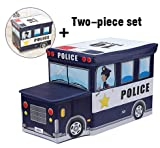 Moon Moon Police Car Combination, Kids Collapsible Toy Storage Organizer, Toy Box Combination Folding Storage for Kids Bedroom, Kids Toys, Toy Car Suit(a car head, a car box)