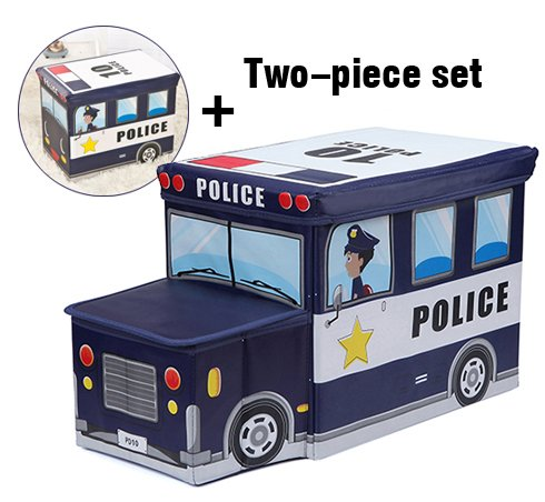 Moon Moon Police Car Combination, Kids Collapsible Toy Storage Organizer, Toy Box Combination Folding Storage for Kids Bedroom, Kids Toys, Toy Car Suit(a car head, a car box) by Moon Moon