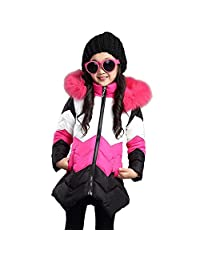 Girls Warm Cotton Coats Winter Hooded Jacket for 6-16 Years Old Children
