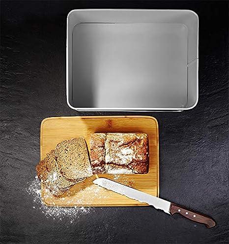 Lumaland Cuisine panera en Metal con Tapa en bambú, Rectangular, Gris Claro, ca. 30,5 x 23,5 x 14 cm
