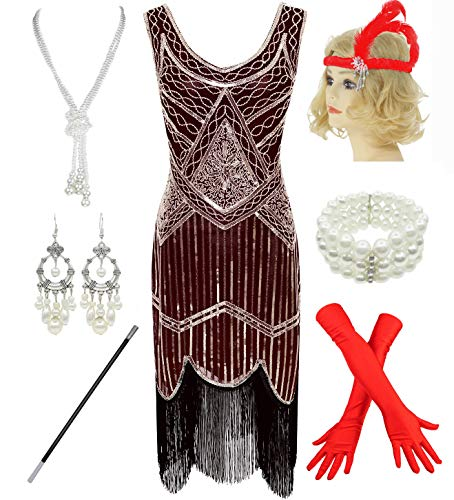 1920s Gatsby Sequin Fringed Paisley Flapper Dress with 20s Accessories Set (XL, Wine Red) -
