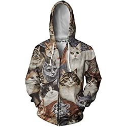 Beloved Shirts Cats Zip Up Hoodie - Premium All Over Print Graphic Jackets - XXX-Large