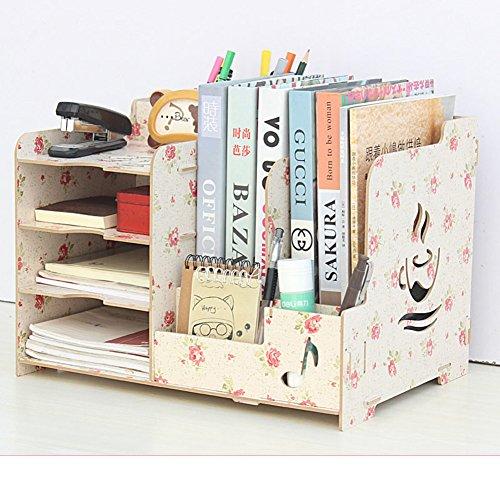 JX&BOOS Bookshelf,Wooden desktop storage box office storage rack data file holder clip pen holder-D 36.5x26.7x25.6cm(14x11x10)