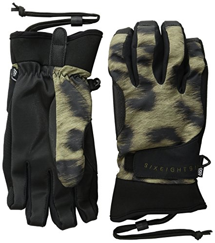 686 Women's Crush Pipe Gloves, Leopard, Small (Mittens Gore Stretch)