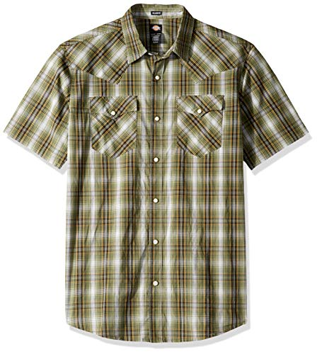 Dickies Men's Short Sleeve Flex Western Shirt, Rinsed Thyme Plaid, 3X