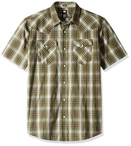 (Dickies Men's Short Sleeve Flex Western Shirt, Rinsed Thyme Plaid, 3X)