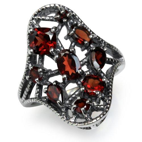 2.13ct. Natural Garnet 925 Sterling Silver Filigree Ring Size - 2.13 Natural Ct