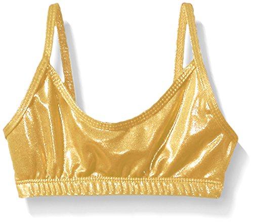 Gia Mia Dance Big Girls Metallic Bra Top, Gold, Large by Gia Mia