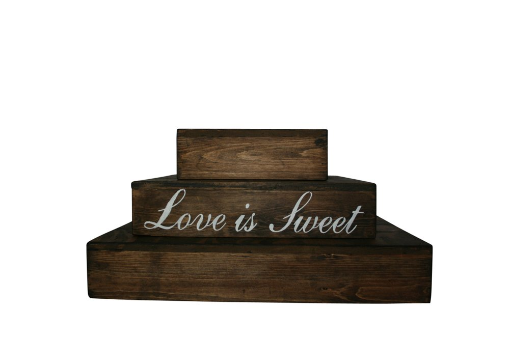 Rustic Wedding Country Barn Farmhouse Wedding Cake Cupcake Stand 3 Tier Rustic Wooden Country Cake Cupcake Stand (Dark Walnut) by Cleo Classic Designs (Image #3)