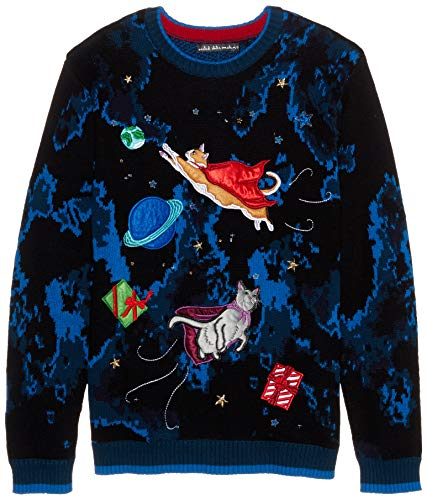 Blizzard Bay Men's Flying Space Cats Ugly Christmas Sweater, X-Large ()