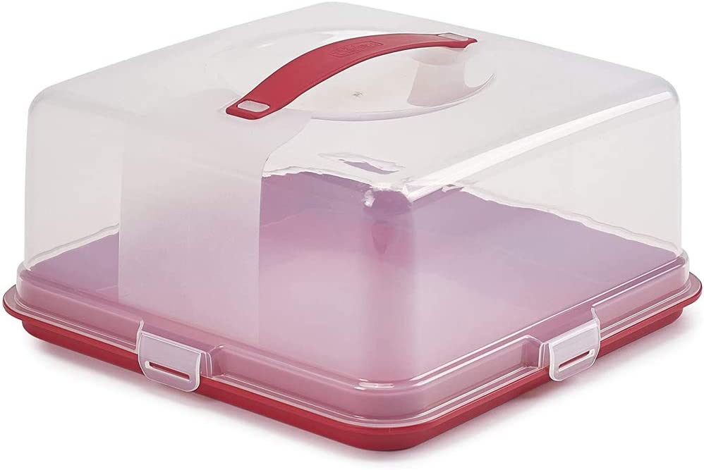 4 Litre Square Cake Carrier Holder Containers Cake and Cupcake Holder Carrier Container Red//Clear 33 x 33 x 16.5 cm St@llion Christmas Cake Box Plastic Cake Box with Lid Cake Storage