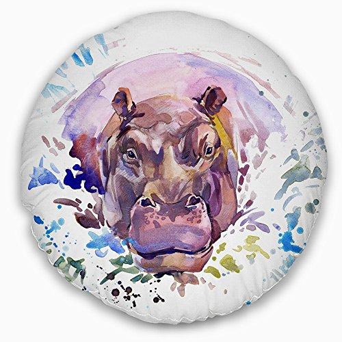 Designart CU6032-20-20-C Hippopotamus Watercolor' Animal Throw Cushion Pillow Cover for Living Room, Sofa, 20 Inches Round, Hypoallergenic Pillow Insert + Cushion Cover Printed on Both Side (Sofa Hippopotamus)