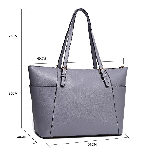 BG Bags Bag School For GREY Shoulder SHOULDER Handbags CW30 Holiday Women's Quality Leather Oversize Faux Shopper Women LeahWard® txgTqU8