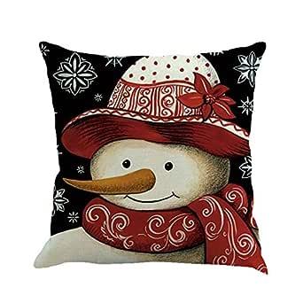 Fossrn Fundas De Cojines 45x45 Avatar De Navidad Muneco De Nieve Patron Almohada De Sofa Hogar Decorativo