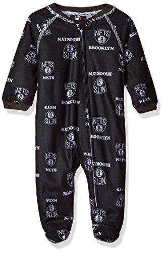 NBA Newborn Nets Sleepwear All Over Print Zip Up Coverall, 3-6 Months, Black ()