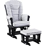Naomi Home Deluxe Multiposition Sleigh Glider and Ottoman Set Espresso/Sand