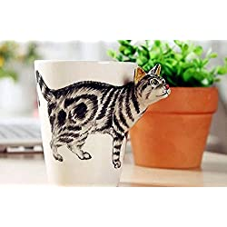 Sincere Trading 3D animals creative ceramic cup (301-400ml) ,coffee cup, milk cup, breakfast cup, tea cup (white/cat-3D))