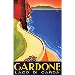 GARDONE RIVIERA LAGO DI GARDA NARROW ROAD TUNNELS LAKE ITALY VINTAGE POSTER REPRO