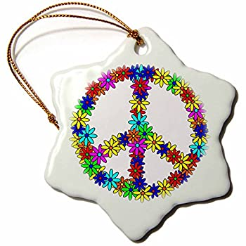 3dRose Peace Sign Flower Power Design Snowflake Porcelain Ornament, 3-Inch