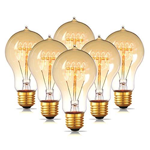 Chandelier Incandescent Amber (6-Pack Edison Light Bulb, Jslinter Dimmable A19 Antique Vintage Style Light, Amber Warm e26 Base(60w/110v))