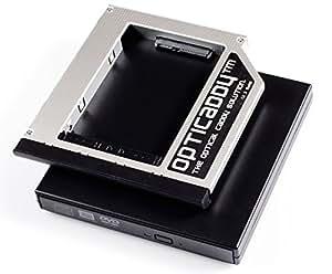 """Opticaddy© SATA-3 HDD/SSD Caddy Adaptador SET con carcasa externa USB para una unidad óptica para HP Compaq 6530b, 6535b, 6730b, 6730s, 6735b, 6735s, HP EliteBook 6930p, 8440p, 8530p, 8540p, 8440w, 8530w, 8540w, 8730w, 8740w, HP ProBook 6440b, 6445b, 6450b, 6455b, 6550b, 6555b - reemplaza la unidad óptica, viene con tecnología """"OptiSpeed"""" (adaptador Opticaddy originales)"""