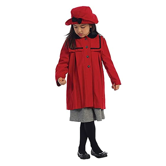 Amazon.com: Angel Garment Red Wool Coat Hat Outerwear Set Toddler ...