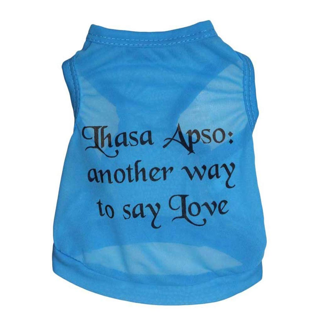 As shown L As shown L Huayue Polyester Sensitive and Low Dog Pet Vest Spring and Summer Dog T-Shirt bluee (color   As Shown, Size   L)